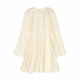 Chloé Cream Lace-trimmed Silk Mini Dress