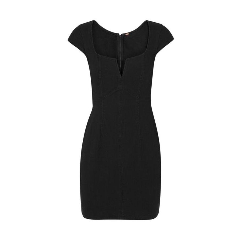 Free People Lia Black Stretch-denim Mini Dress