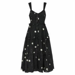 Free People Daisy Chain Embroidered Cotton Midi Dress