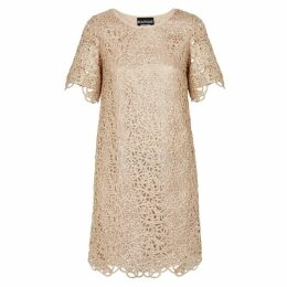 Boutique Moschino Gold Crochet Lace Dress