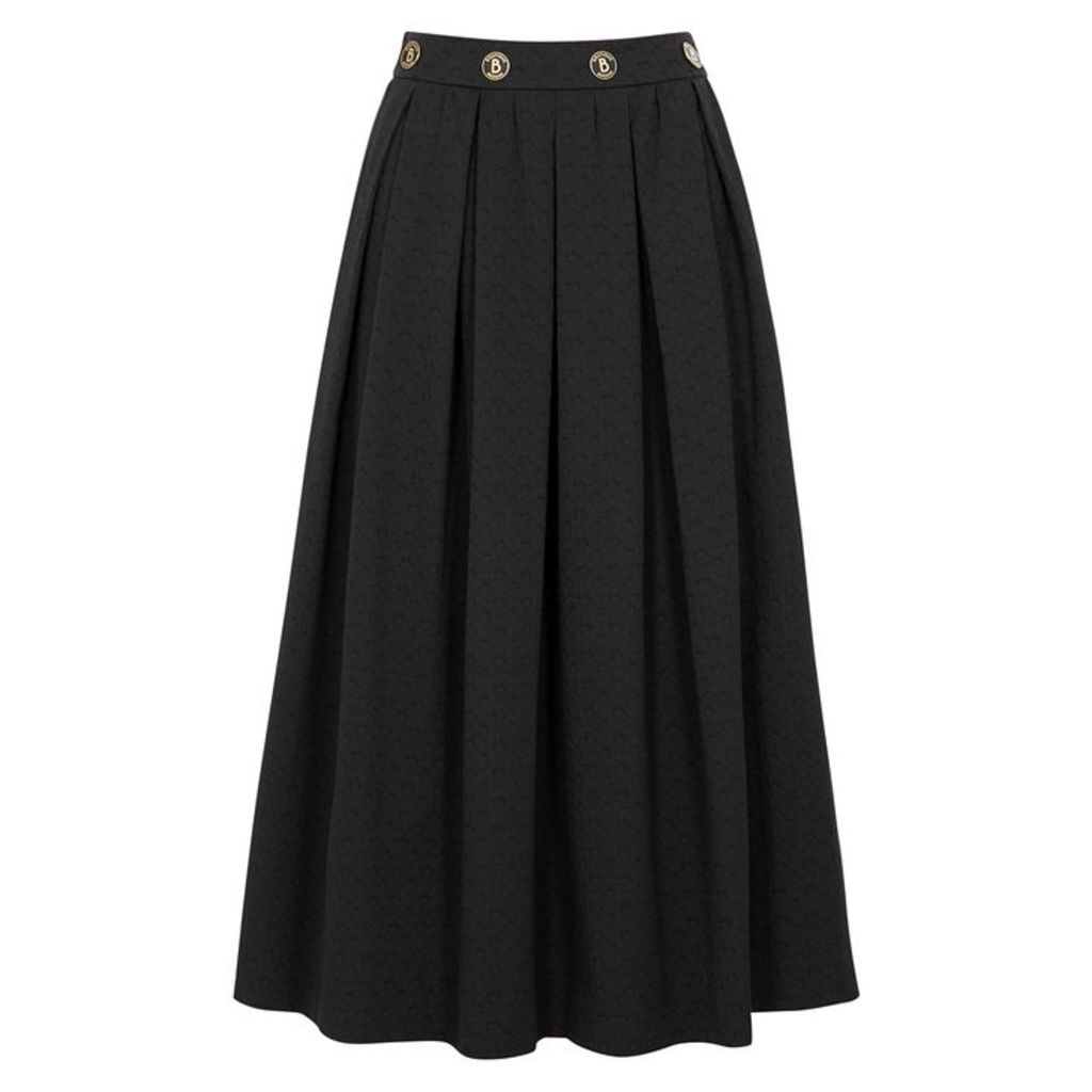 Boutique Moschino Black Pleated Jacquard Skirt
