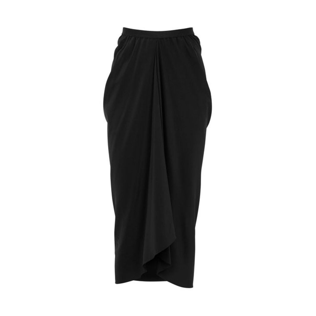 Rick Owens Kite Black Silk Crepe De Chine Skirt