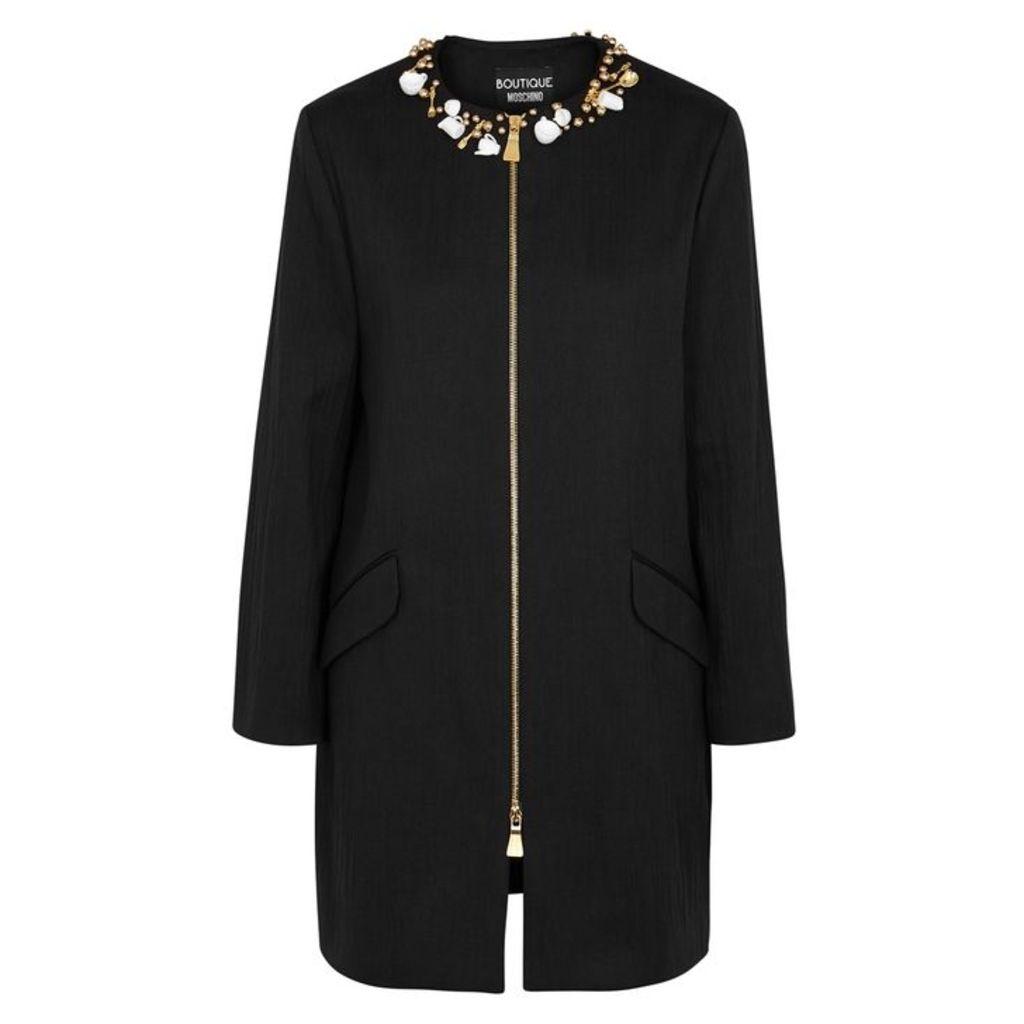 Boutique Moschino Black Embellished Cotton Jacket
