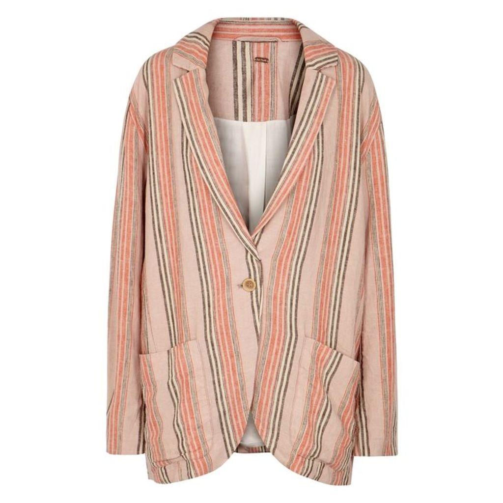 Free People Simply Striped Linen-blend Blazer