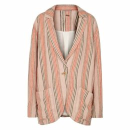 Free People Simply Striped Linen-blend Blazer