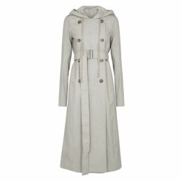 Rick Owens Grey Hooded Coated Twill Trench Coat