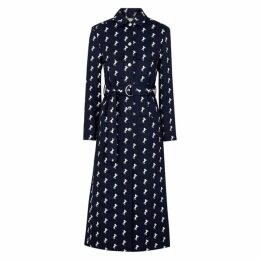 Chloé Navy Horse-embroidered Wool Coat