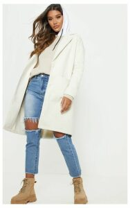 Cream Midi Coat, White