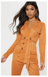 Toffee Pocket Detail Tie Waist Blazer, Toffee