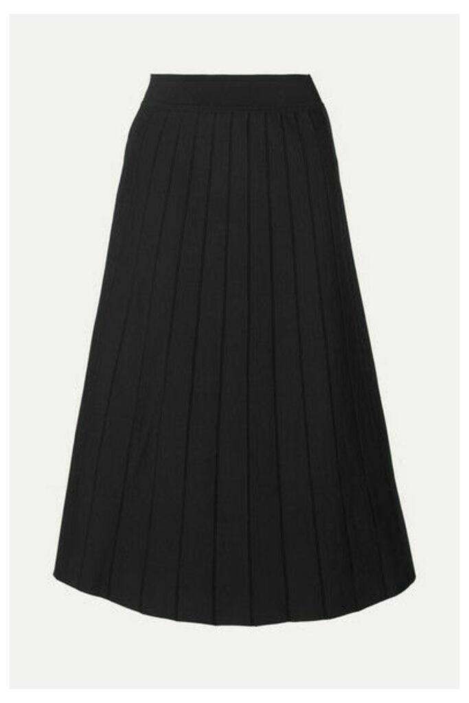 CASASOLA - Pleated Stretch-knit Midi Skirt - Black
