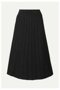 CASASOLA - Pleated Stretch-knit Midi Skirt - Black
