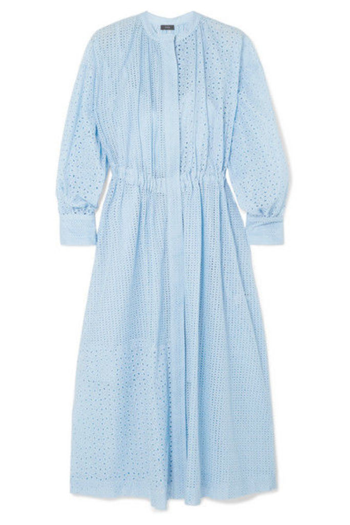 Joseph - Rafael Broderie Anglaise Cotton-blend Midi Dress - Blue