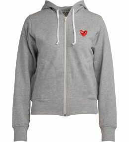 Comme Des Garcons Play Grey Fleece With Red Hearts