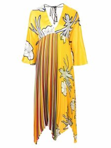 Pinko floral print pleated dress - Yellow