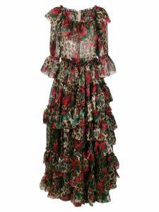 Dolce & Gabbana patterned ruffled dress - Brown