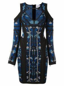 Hervé Léger 'pixel' print cut-off dress - Blue