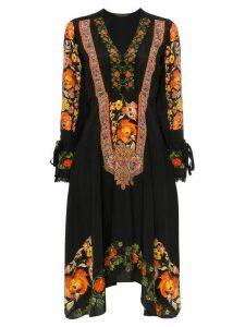 Etro Floral print lace trim silk V-neck dress - Black