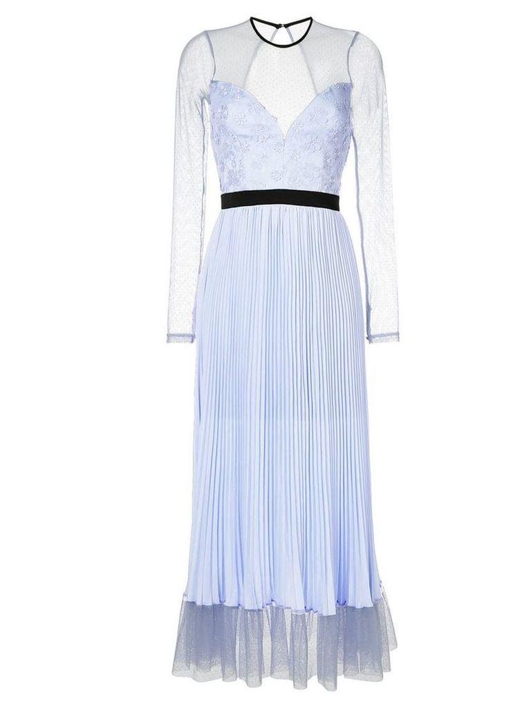 Three Floor sheer top pleated dress - Blue