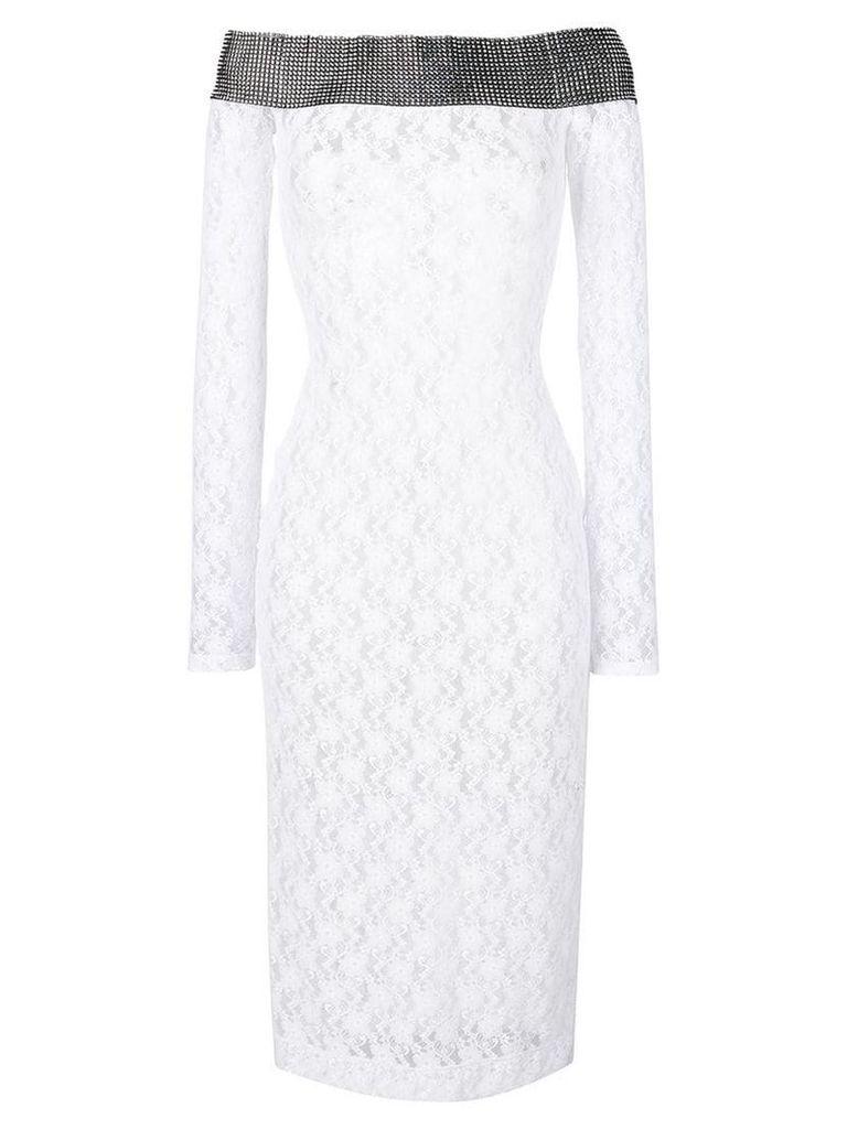 Christopher Kane stretch lace crystal dress - White