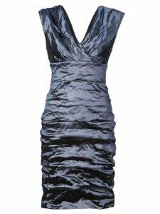 Nicole Miller metallic gathered dress - Blue
