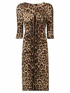 Dolce & Gabbana fitted leopard print dress - Brown
