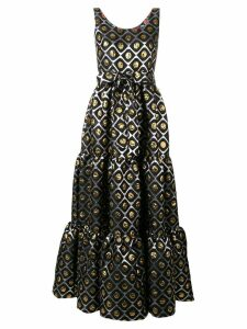 La Doublej geometric print flared dress - Black