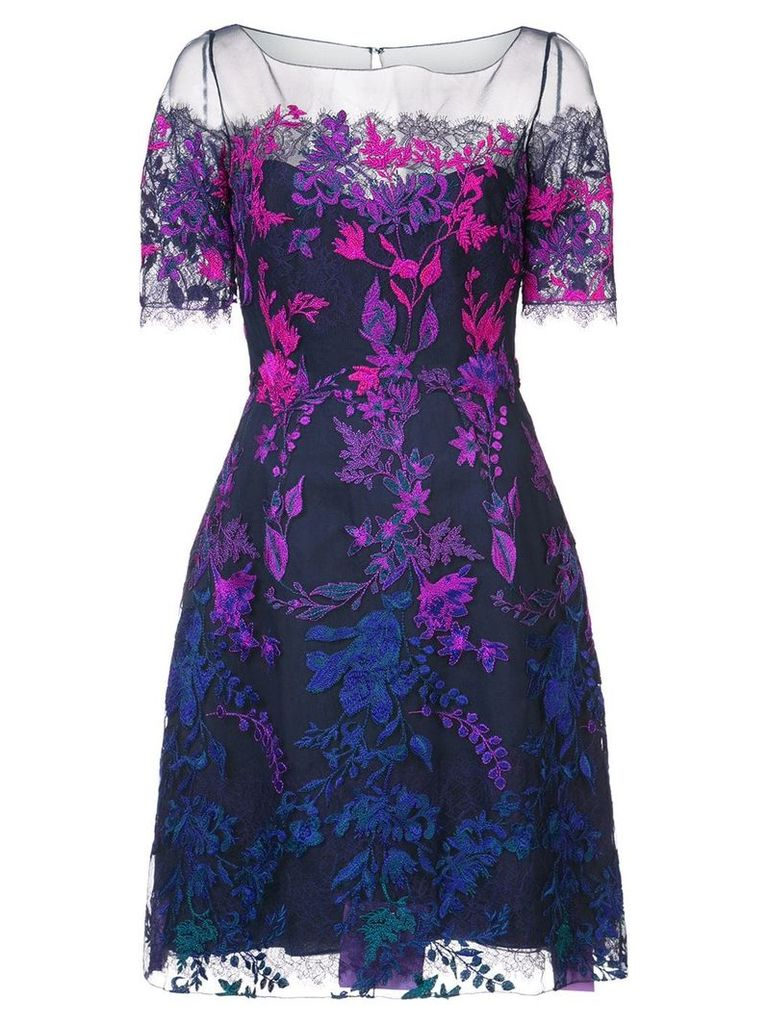 Marchesa Notte floral embroidered mesh dress - Purple