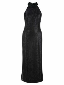 Galvan fitted glitter halterneck dress - Black