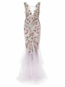 Marchesa floral beaded gown - Purple