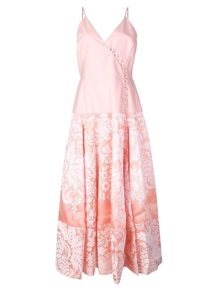Rosie Assoulin damask wrap front midi dress - Pink