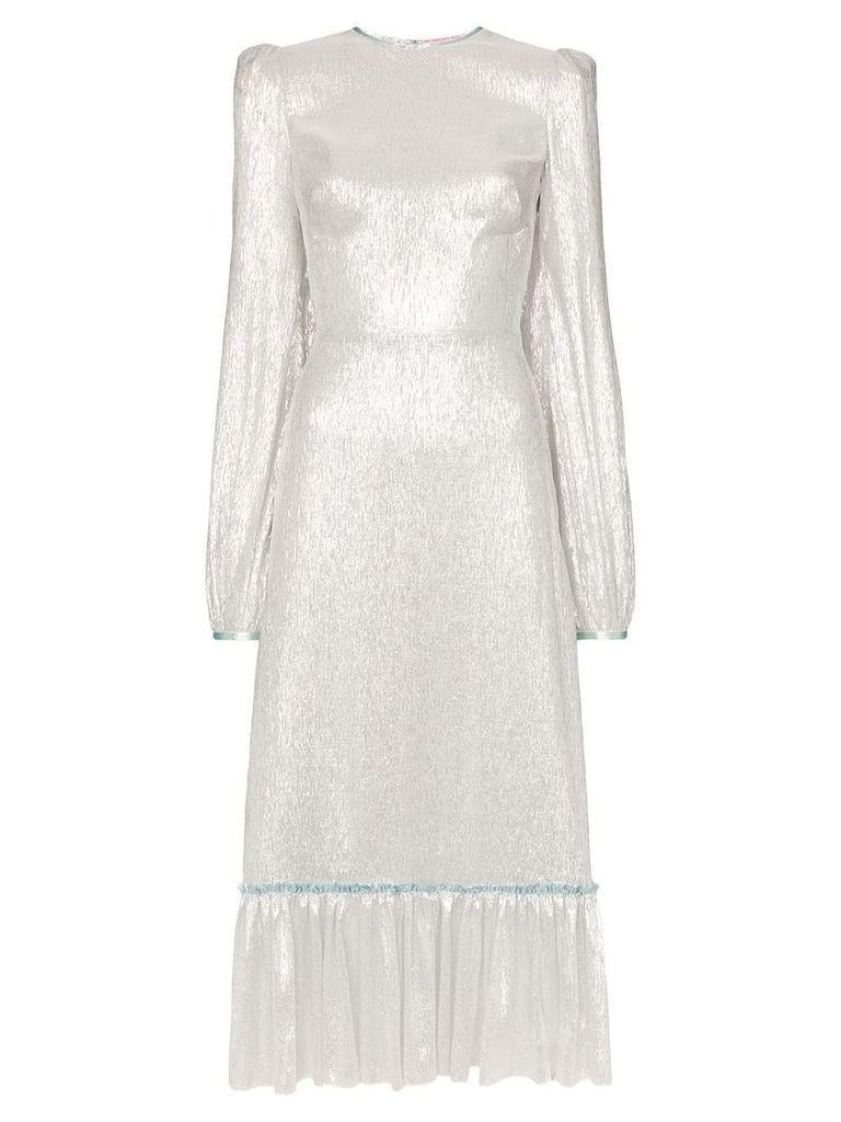 The Vampire's Wife lamé ruffle hem silk blend dress - Silver