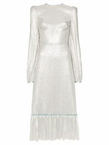The Vampire's Wife lamé ruffle hem silk blend dress - Silver