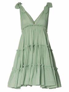 Innika Choo Big Frill V-neck ramie dress - Green