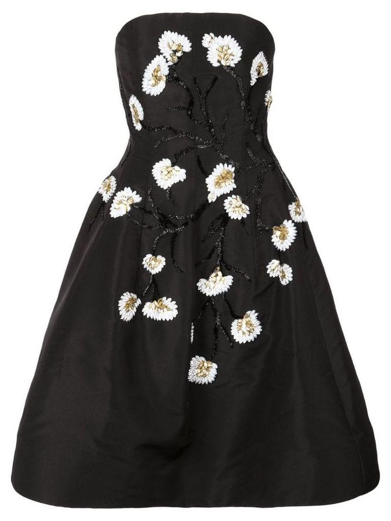 Oscar de la Renta beaded floral flared dress - Black