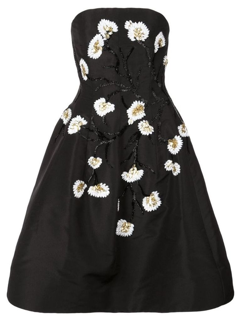 Oscar de la Renta beaded floral flared dress - Black