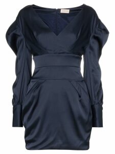 Alexandre Vauthier Ruched Sleeve Mini Dress - Blue