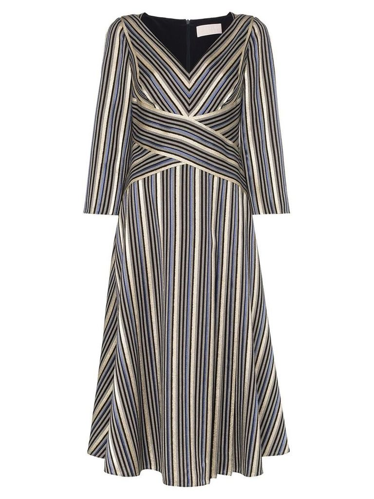 Peter Pilotto crossover waist V-neck midi dress - Multicolour