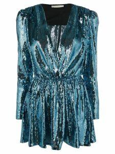 Amen sequinned V-neck mini dress - Blue