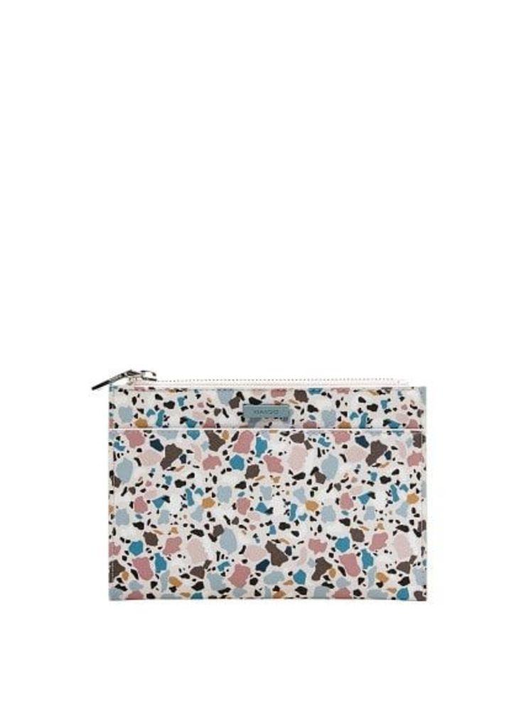 Geometric print cosmetic bag