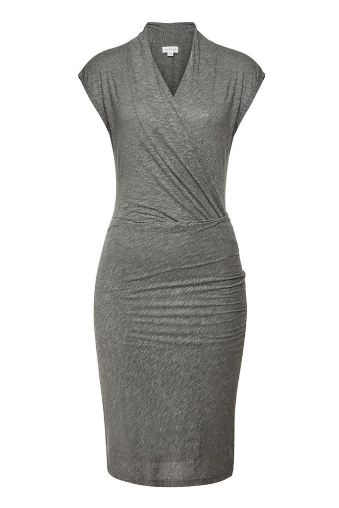 Velvet Omega Draped Dress with Cotton