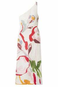 Cult Gaia - Louise One-shoulder Cutout Floral-print Linen Midi Dress - Red