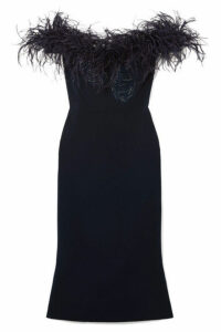 Marchesa - Off-the-shoulder Feather-trimmed Sequined Cady Midi Dress - Midnight blue