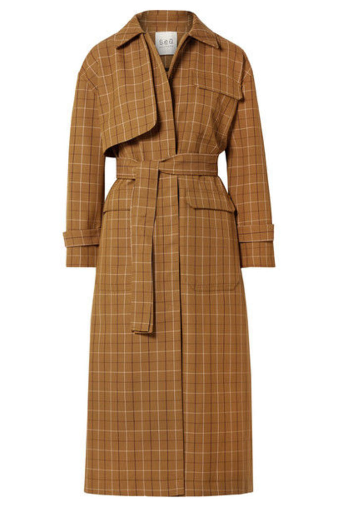 SEA - Poirot Checked Cotton-blend Twill Trench Coat - Camel