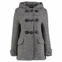 Anastasia  Prince Of Wales Check Short Winter Duffle Coat  women's Coat in Black