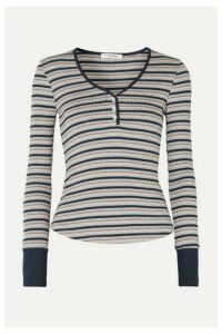 FRAME - Striped Ribbed Stretch-knit Top - Gray