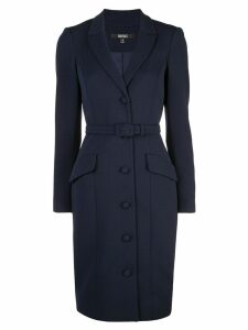 Badgley Mischka belted fitted dress - Blue