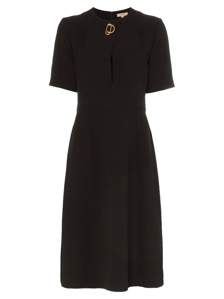 Burberry Short-sleeve D-ring Detail Silk Wool Dress - Black