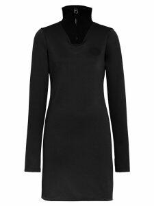 Burberry Zip Detail Funnel Neck Mini Dress - Black