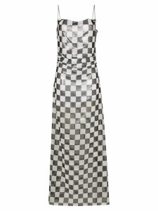 Filles A Papa check print sleeveless maxi dress - White