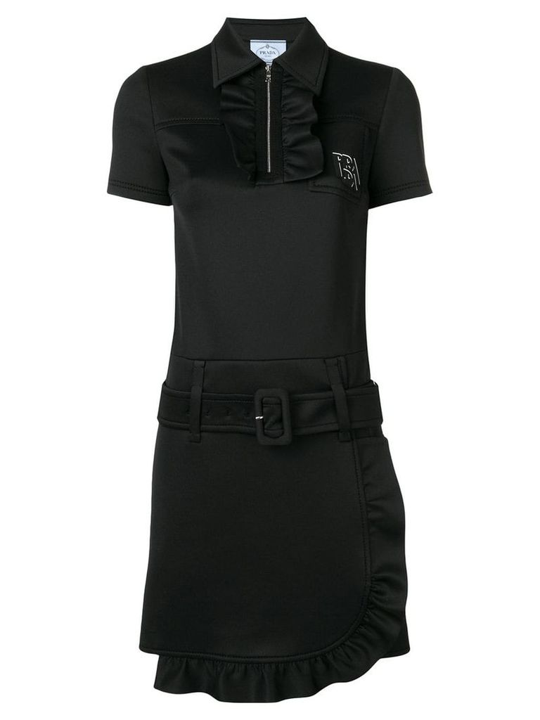Prada ruffle trimming dress - Black